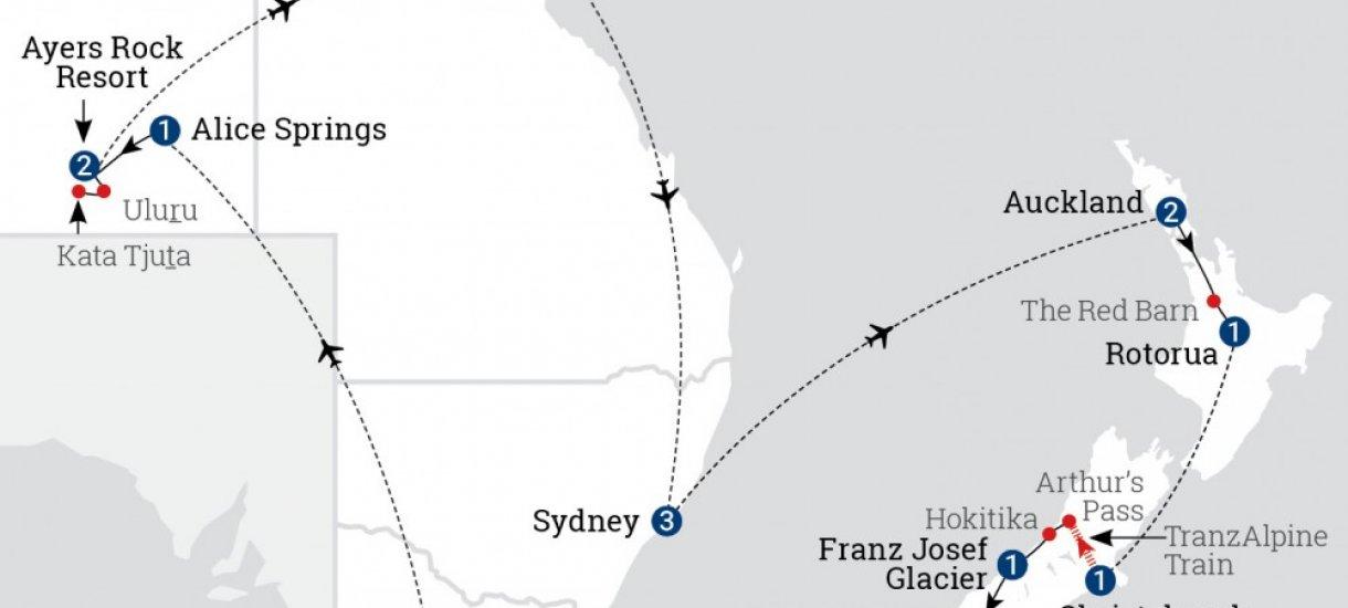 Reitti; Australian ja Uuden-Seelannin kohokohdat