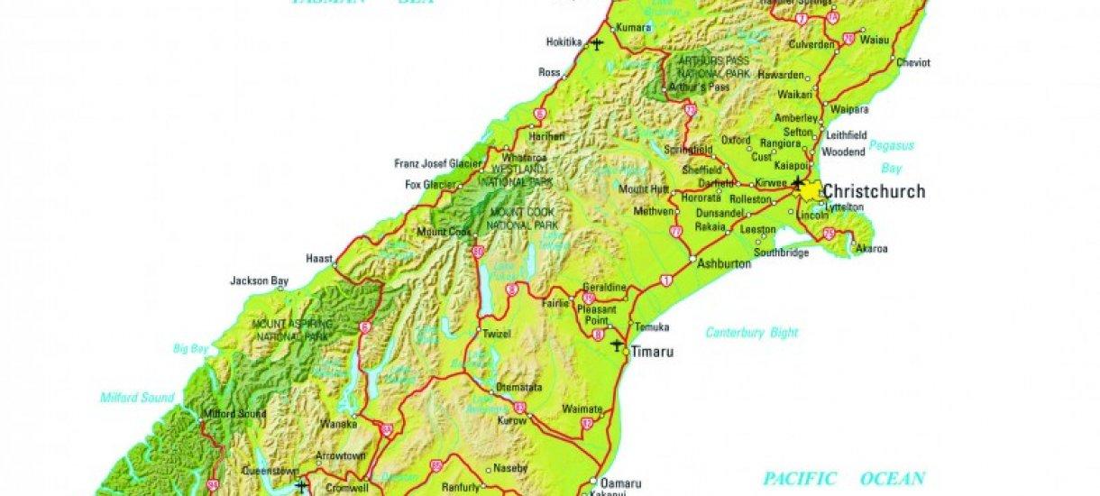 Kartta Eteläsaari, Uusi-Seelanti