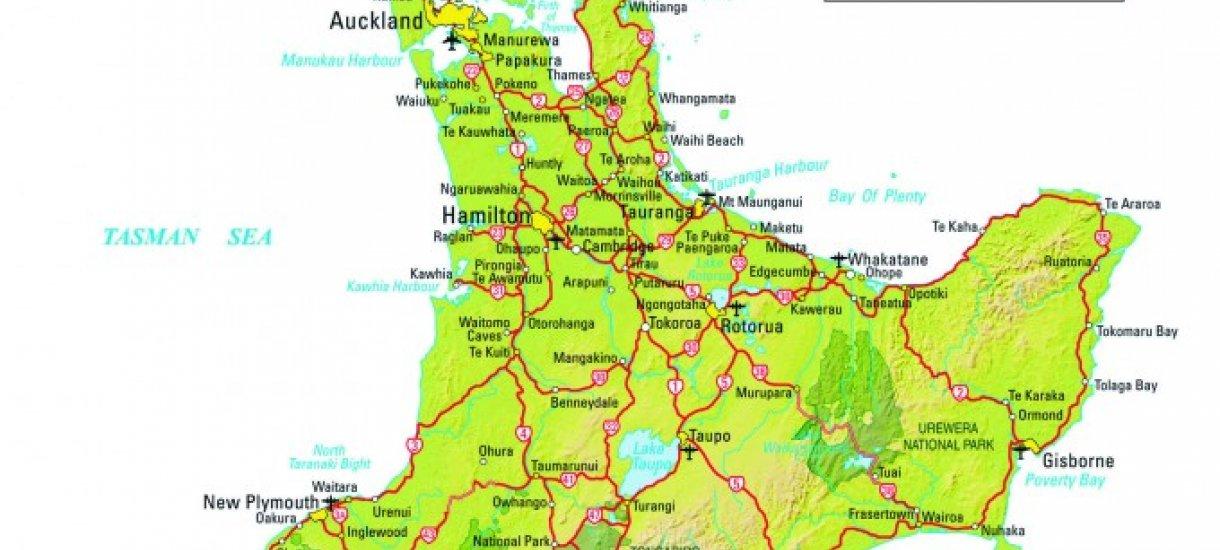 Pohjoissaari kartta, Uusi-Seelanti